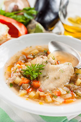 chicken soup with seasonal vegetables
