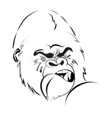 angry gorilla stylized illustration