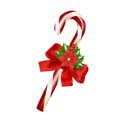 Christmas decoration- cane with red bow, holly and puansetiya.Vector illustration