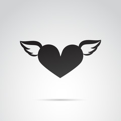 Flying heart vector icon.