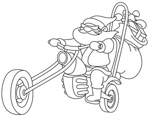 Outlined Santa with motorcycle