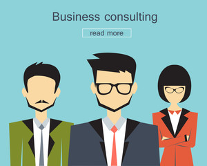 business consulting, teamwork, banner concept
