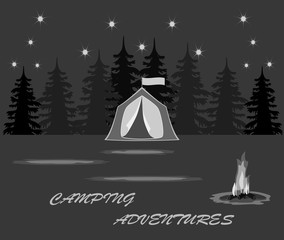 Tents for tourism in a forest and close to a fire burning