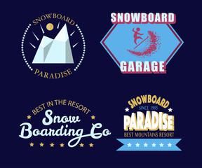 Snowboarding typography icon, logotype and badge set