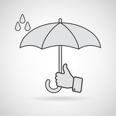 Vector illustration of classic elegant opened umbrella in man's hand