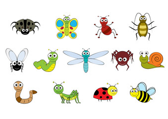 Vector cartoon-style illustration images of mini beasts, insects and small garden animals