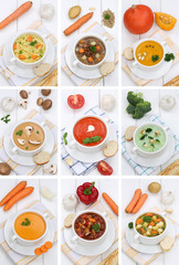 Collage Suppe Suppen Tomatensuppe Gemüse Gemüsesuppe in Teller