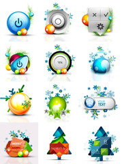 Set of internet buttons, Christmas concept