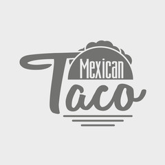 Taco icon or logo concept. Vector dark grey icon on light grey background.