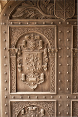 Carved English Oak Door Close up