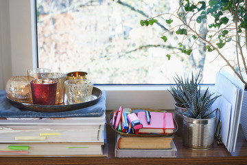 Books, candles and succulent plants on a windowsill