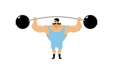 Vintage Strongman. Ancient athlete. Retro bodybuilder barbell. S