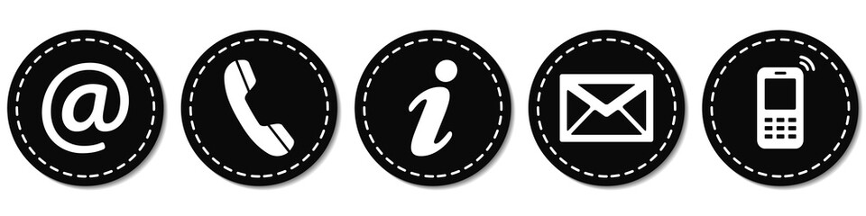 Contact Us – Round black sticker buttons with dashed line