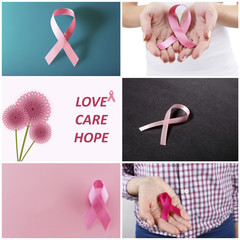 Breast Cancer concept images in collage