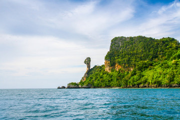 Krabi Beach and mountain boat on the beautiful beach ,Thailand