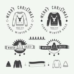 Vintage Merry Christmas or winter sales logo, emblem, badge