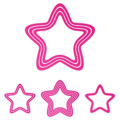 Pink line star logo design set