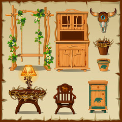 Antique wooden furniture on the beige background of old paper