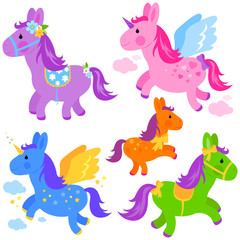 Vector Illustration of cute colorful ponies and unicorns set.