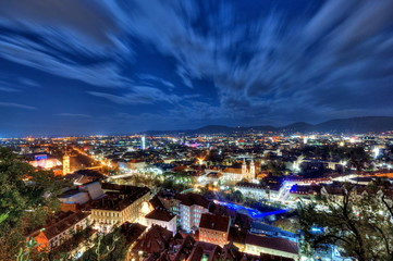 City of Graz at night, Austria