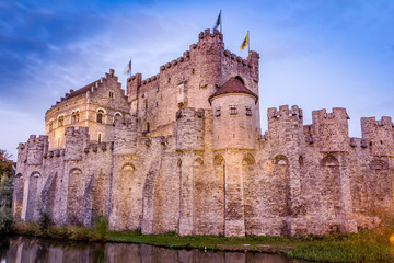 The Gravensteen, medieval castle built in 1180 by count Philip of Alsace, Ghent, Belgium