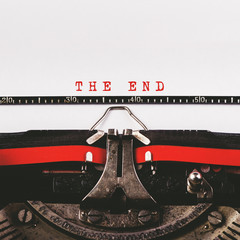 The end text on old typewriter