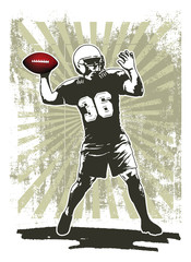 american football player with stencil frame