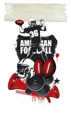 american football scene with player helmet and balls