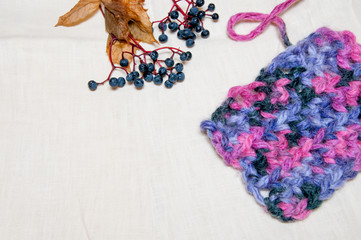 colorful knitting and berries