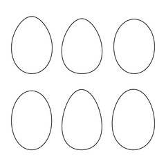 Various egg shapes - outline. Vector.
