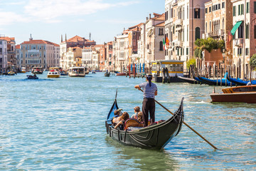 Photo sur Aluminium Gondoles Gondola on Canal Grande in Venice