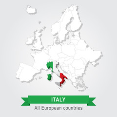 Italy. Europe administrative map.
