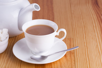Cup of traditional English Tea with spoon