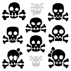 Various cartoon skulls cute silhouettes