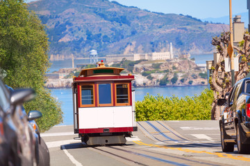 Hyde street and San Francisco tram during summer