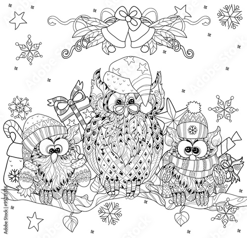 christmas owl on tree branch with small owls hand drawn doodle vector on white background