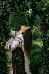 beautiful amazing gorgeous brunette girl in traditional ukrainia