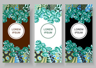 Set of floral backgrounds with space for your text