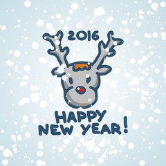 postcard for new year with fanny symbol deer. Vector illustration