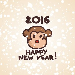 postcard for new year with fanny symbol monkey. Vector illustration