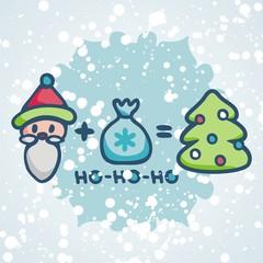 postcard for new year with fanny symbols santa, santa's bag and christmas tree. Vector illustration