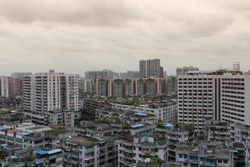 Asian city typical skyline during a cloudy day