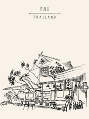 Street in Pai town, Northern Thailand. Hand drawn vintage artistic postcard template