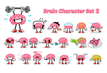 Set of Brain Cartoon Character 2 Vector Illustration