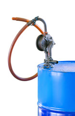 Hand operated lubricant oil pump on boat.