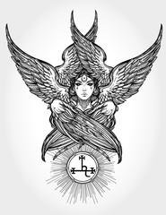 Hand drawn fallen angel Lilith partrait.