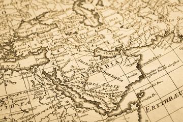 アンティークの世界地図 アラビア半島