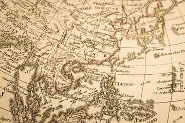 アンティークの世界地図 アジア