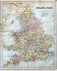 Map of Victorian Era England and Wales