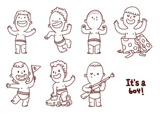 Vector Set of funny boys, line art. Line cartoon image of a seven little cute boys in diapers in different poses on a white background.